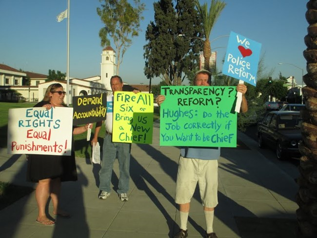 Citizens protest entrenched interests in city governance.